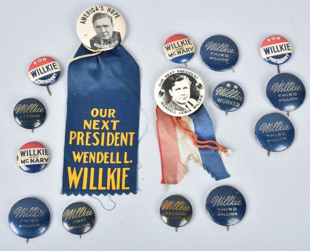 WILLKIE FOR PRSIDENT PINS, PLATE TOPPER, & MORE - 4