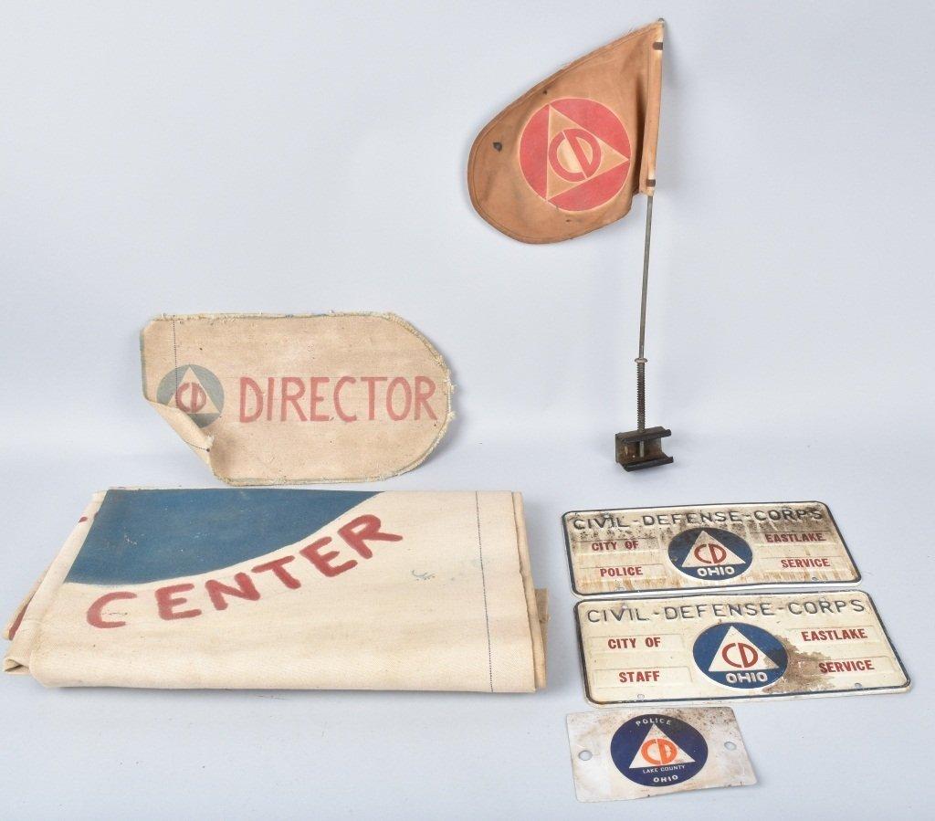 CIVIL DEFENSE LOT FLAG, PLATES, BANNER, & MORE