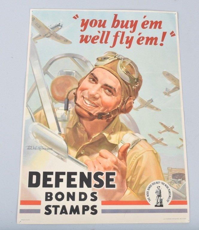 WW2 WAR DEFENSE BONDS STAMPS POSTER
