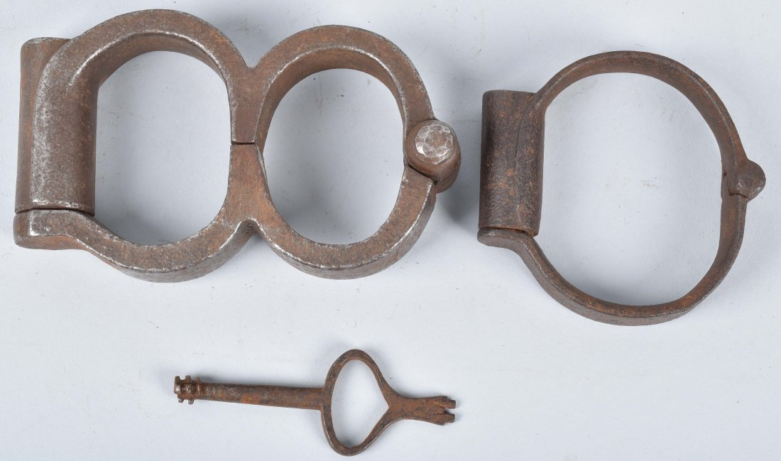 ANTIQUE HAND CUFFS, KEY and MORE