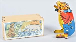W GERMANY Tin Windup CIRCUS BEAR w/ BOX