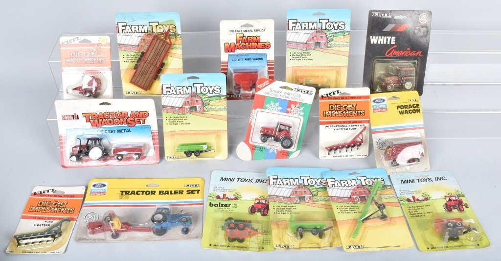 LARGE LOT OF 1/64 SCALE TRACTORS & IMPLEMENTS