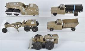 5 HUBLEY DIECAST MILITARY VEHICLES