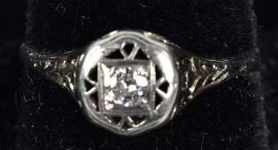 VINTAGE 14K WHITE GOLD DIAMOND FILIGREE RING