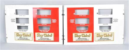 2 Original SKY CHIEF PORCELAIN GAS PUMP FACES