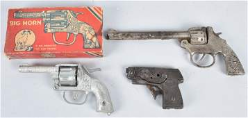 LOT OF 3 VINTAGE KILGORE TOY CAP GUNS
