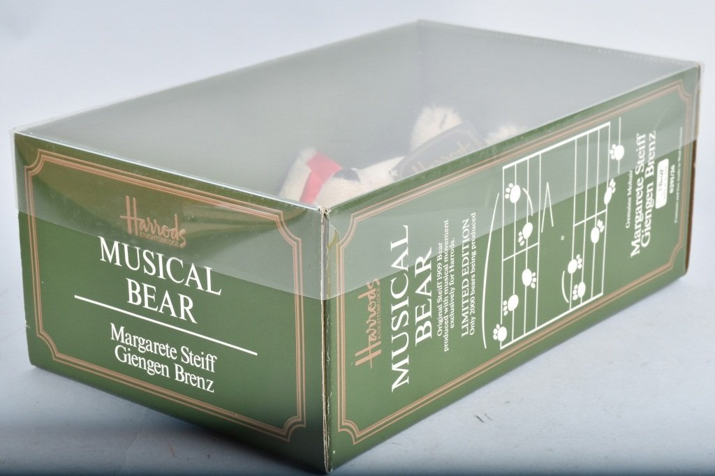STIEFF HARROD'S MUSICAL BEAR REPLICA OF 1909 NMIB - 3