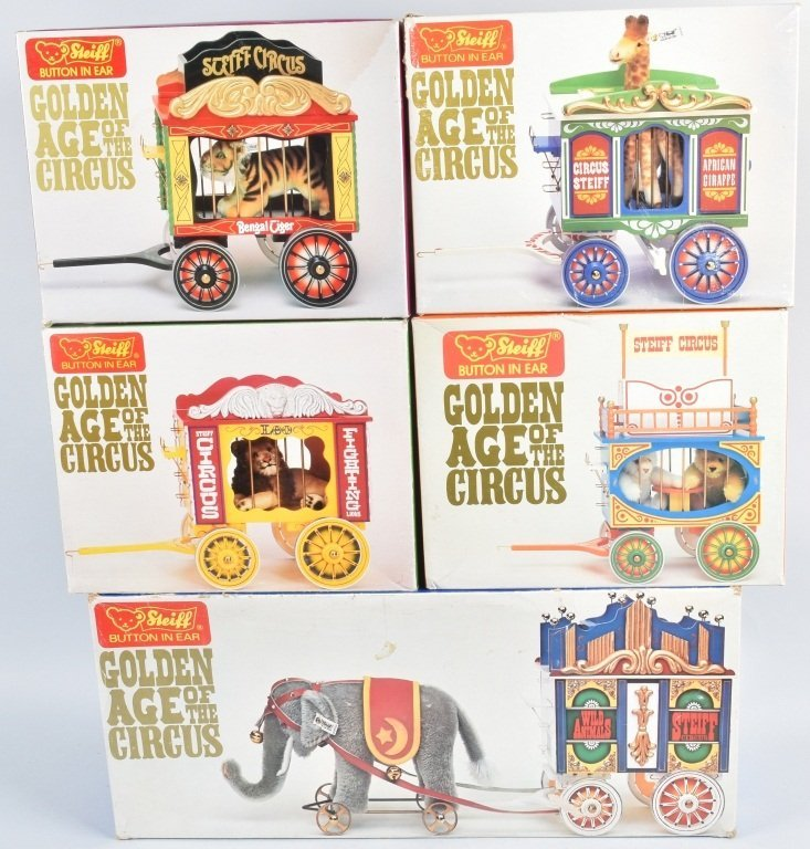 5-Pc STEIFF GOLDEN AGE of the CIRCUS WAGON SET NMB