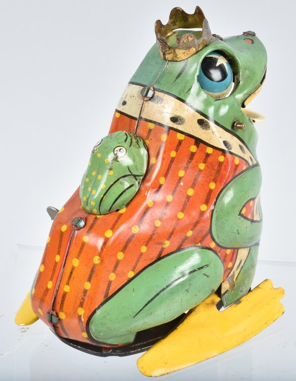 JAPAN Tin Windup FROG KING WITH BABY FROG - 3