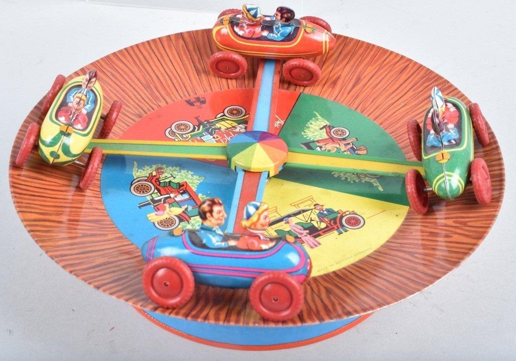 WESTERN GERMANY Tin Windup CAR GO ROUND - 2