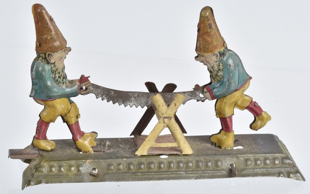 GERMAN PENNY TOY 2 GNOMES WITH SAW