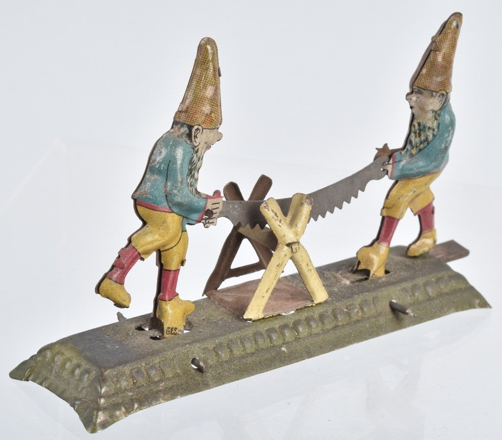 GERMAN PENNY TOY 2 GNOMES WITH SAW - 2