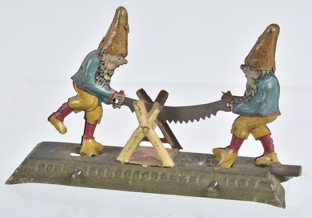 GERMAN PENNY TOY 2 GNOMES WITH SAW - 3