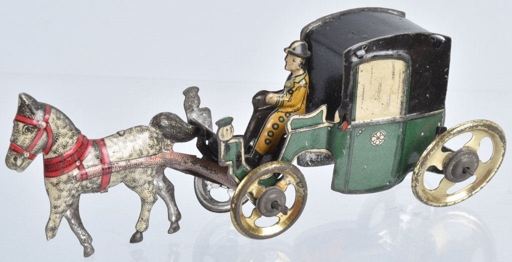 2- GERMAN PENNY TOYS HANDSOME CAB & HORSE - 5