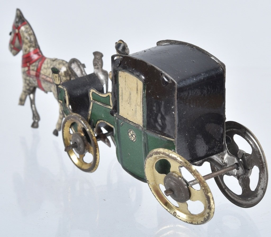 2- GERMAN PENNY TOYS HANDSOME CAB & HORSE - 6