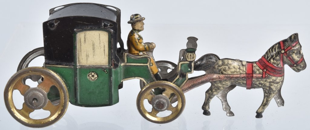 2- GERMAN PENNY TOYS HANDSOME CAB & HORSE - 7