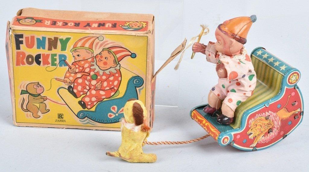 JAPAN Celluloid & Tin Windup FUNNY ROCKER w/BOX
