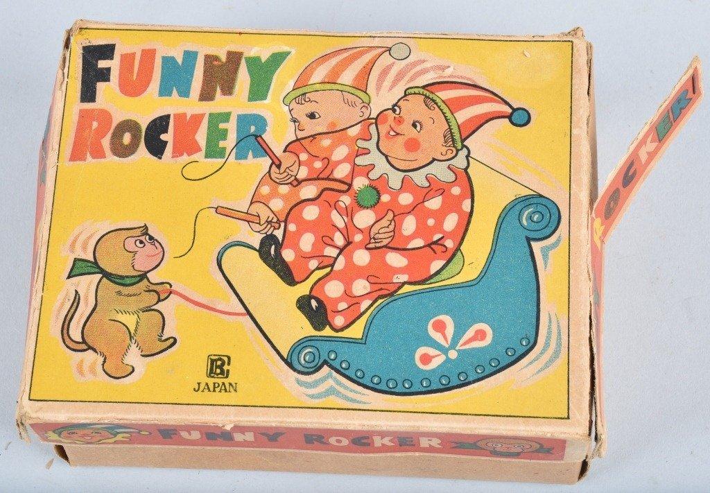 JAPAN Celluloid & Tin Windup FUNNY ROCKER w/BOX - 5