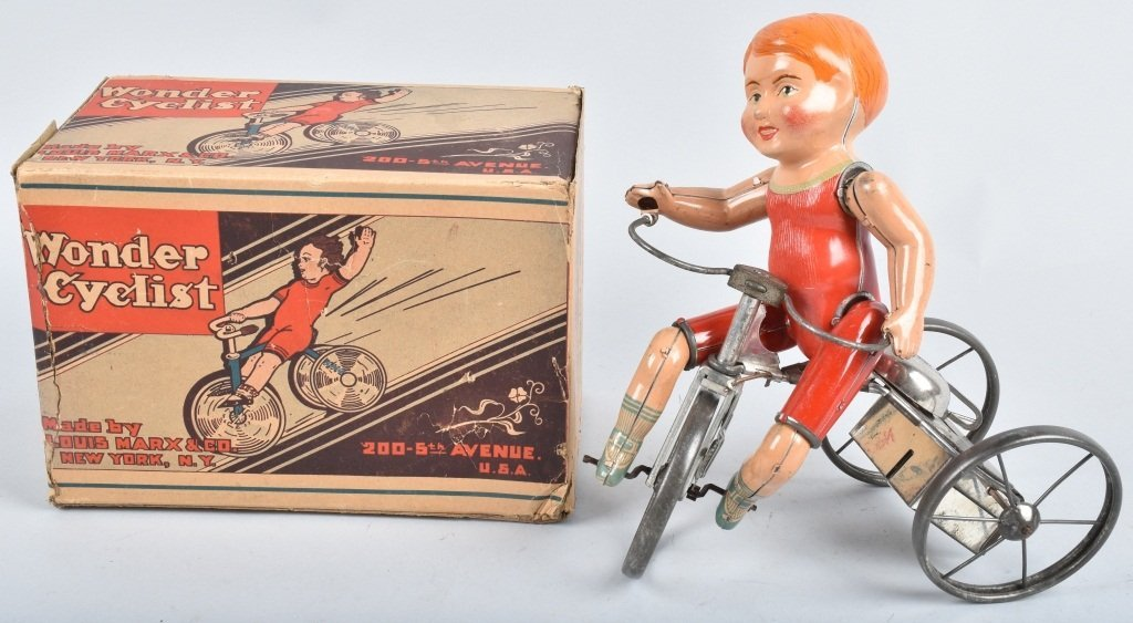 MARX Tin Windup WONDER CYCLIST w/ BOX