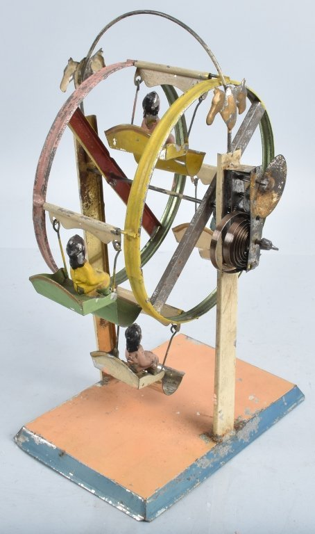 GERMAN Hand Painted Tin Windup FERRIS WHEEL - 3