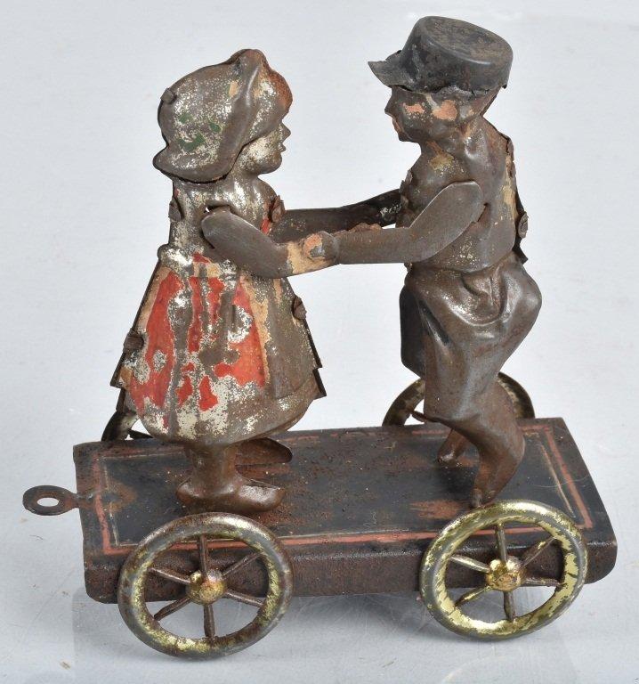 GERMAN Hand Painted Tin BOY & GIRL ON PLATFORM
