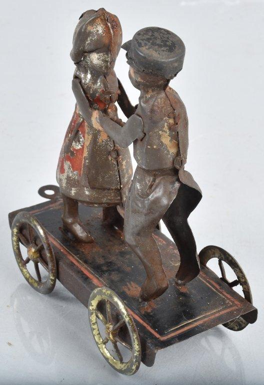 GERMAN Hand Painted Tin BOY & GIRL ON PLATFORM - 2