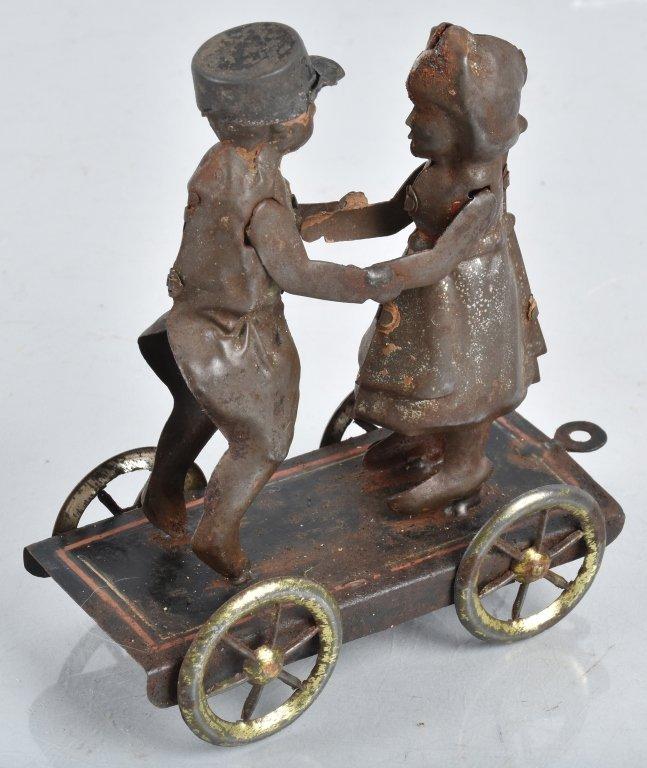 GERMAN Hand Painted Tin BOY & GIRL ON PLATFORM - 3