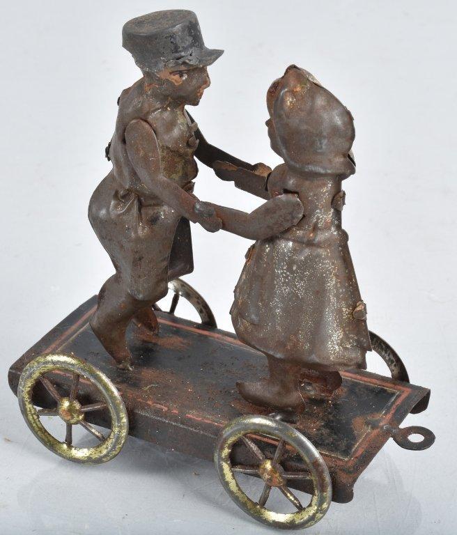 GERMAN Hand Painted Tin BOY & GIRL ON PLATFORM - 4