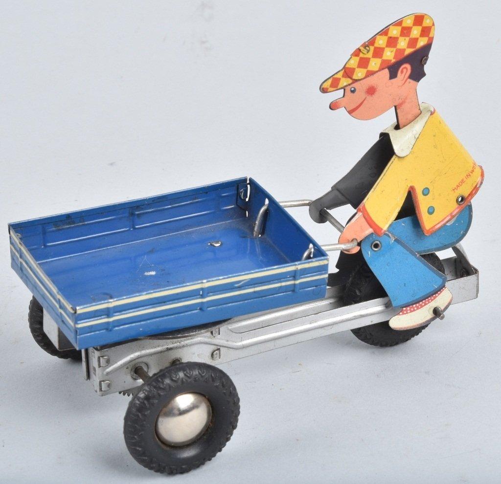 W GERMANY Tin Friction BOY ON VENDOR CART