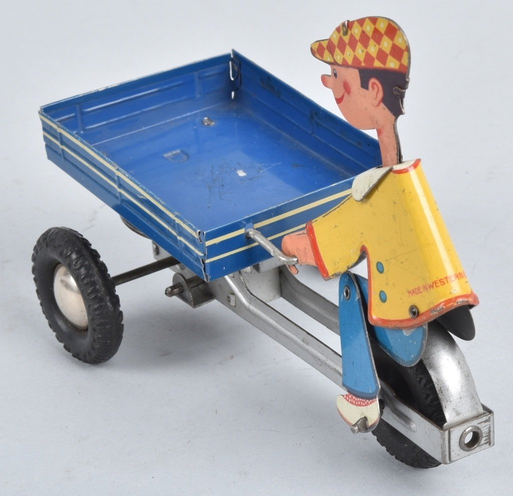 W GERMANY Tin Friction BOY ON VENDOR CART - 2