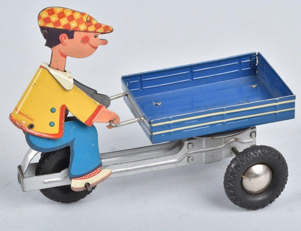 W GERMANY Tin Friction BOY ON VENDOR CART - 3