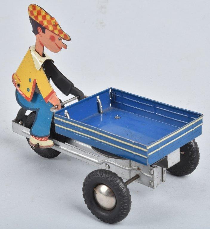 W GERMANY Tin Friction BOY ON VENDOR CART - 4