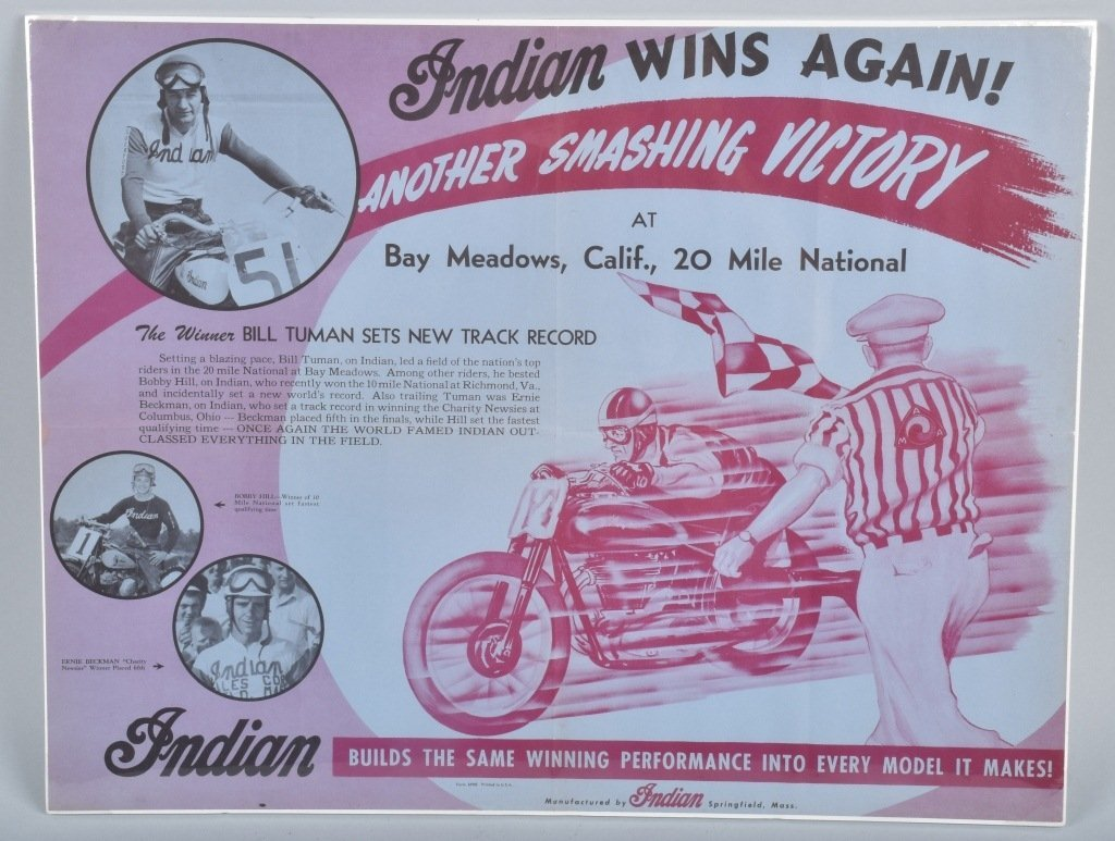 INDIAN MOTORCYCLE RACING POSTER, VINTAGE