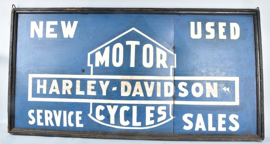 1936 HARLEY DAVIDSON LARGE DOUBLE SIDED SIGN