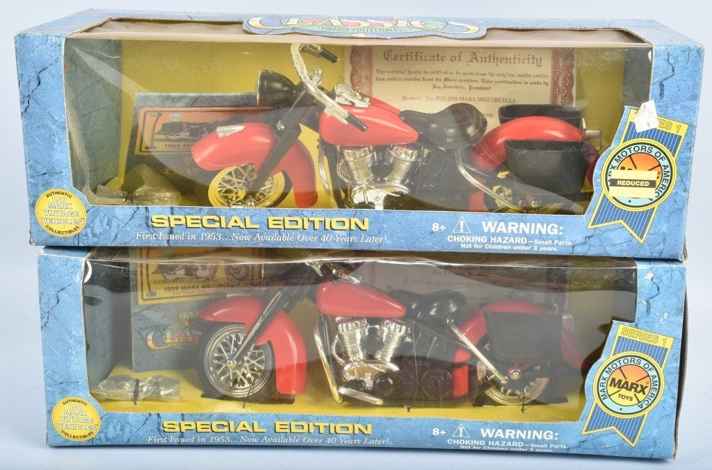 LOT OF 2 MARX CLASSICS TOY MOTORCYCLES MIB