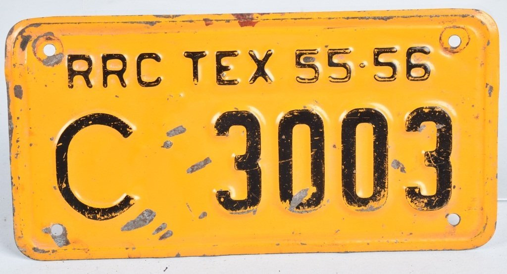 TEXAS 1955-56 RRC MOTORCYCLE LICENSE PLATE