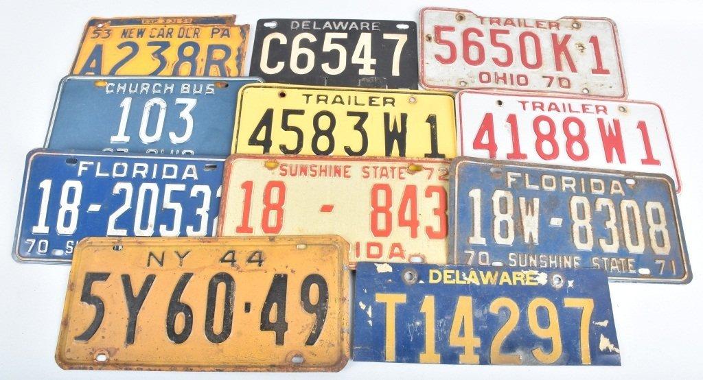 LOT OF 11 MISC. AUTO LICENSE PLATES, OHIO & MORE