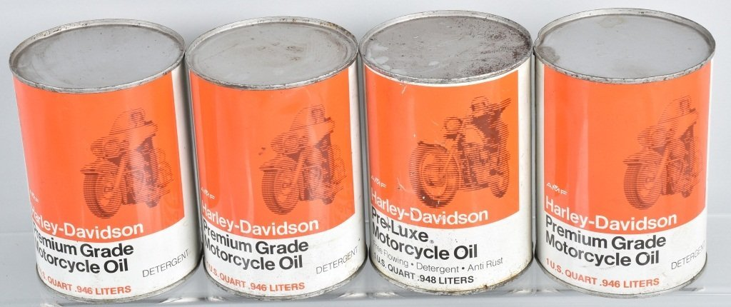 LOT OF 4  HARLEY DAVIDSON AMF OIL CANS