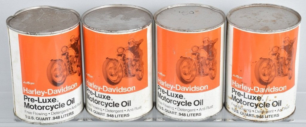 LOT OF 4  HARLEY DAVIDSON AMF PRE-LUXE OIL CANS