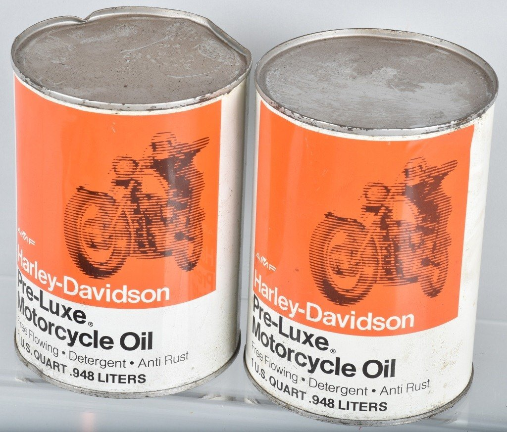 LOT OF 4  HARLEY DAVIDSON AMF PRE-LUXE OIL CANS - 2