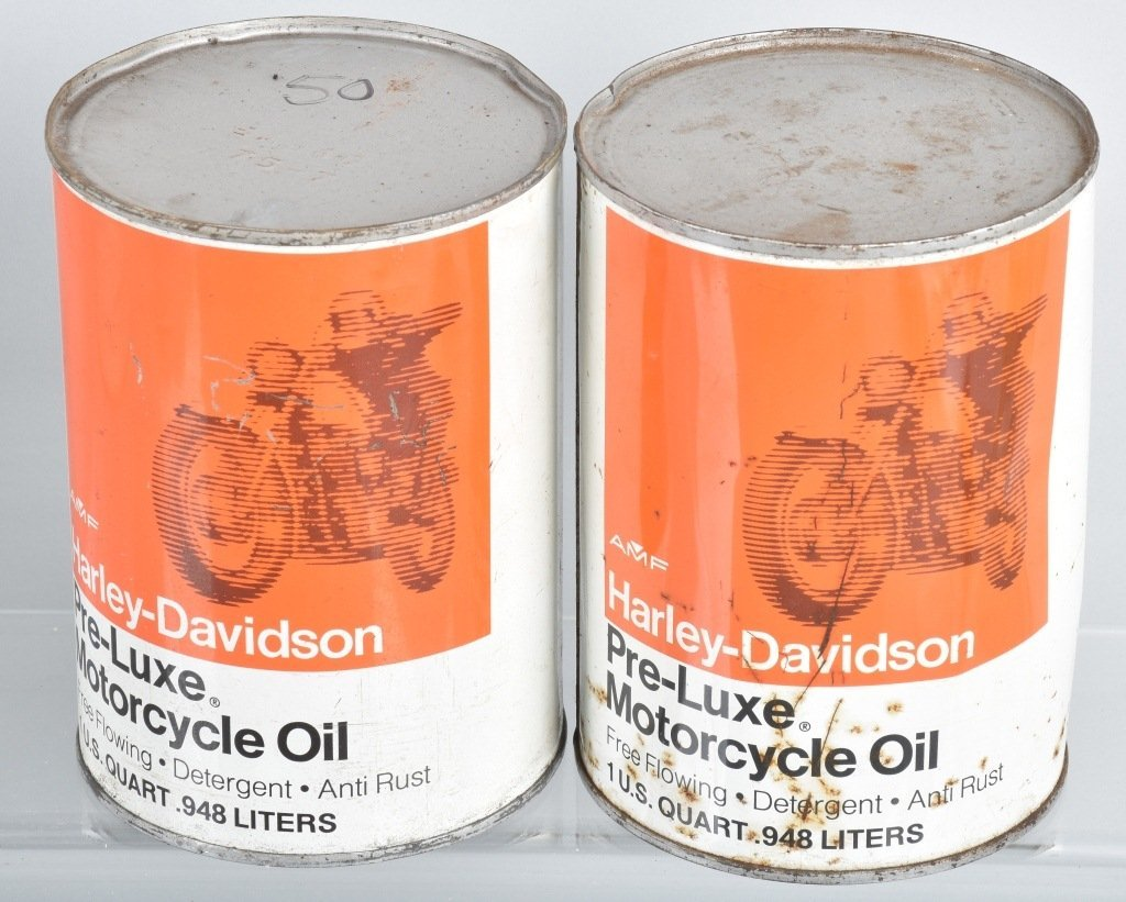 LOT OF 4  HARLEY DAVIDSON AMF PRE-LUXE OIL CANS - 4