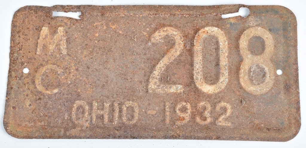 1932 OHIO MOTORCYCLE LICENSE PLATE