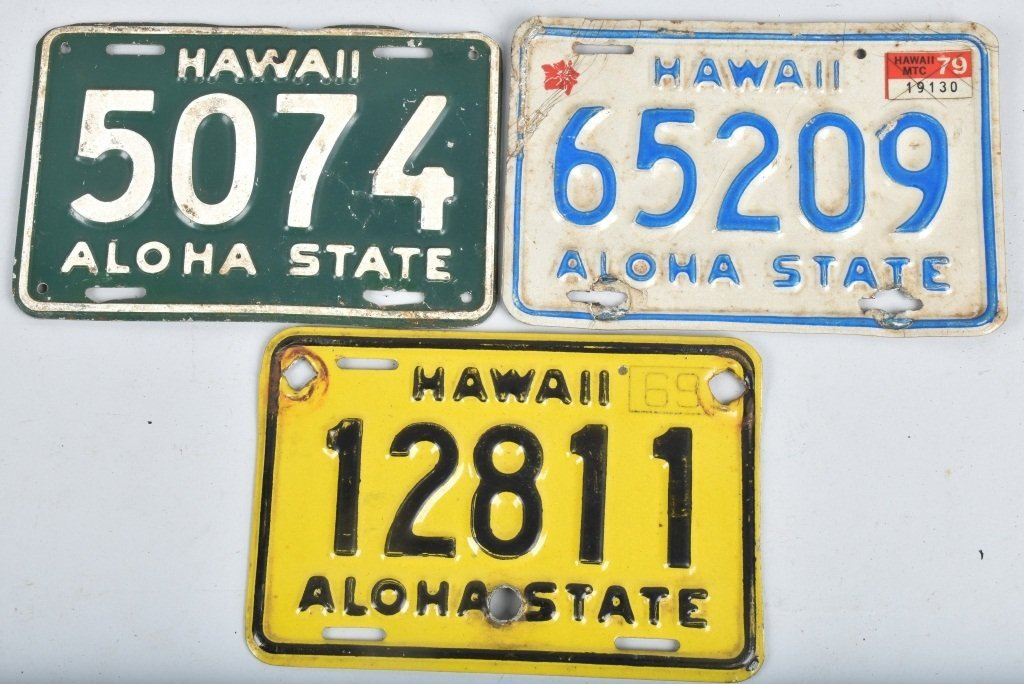 LOT OF 3 HAWAII MOTORCYLE LICENSE PLATES