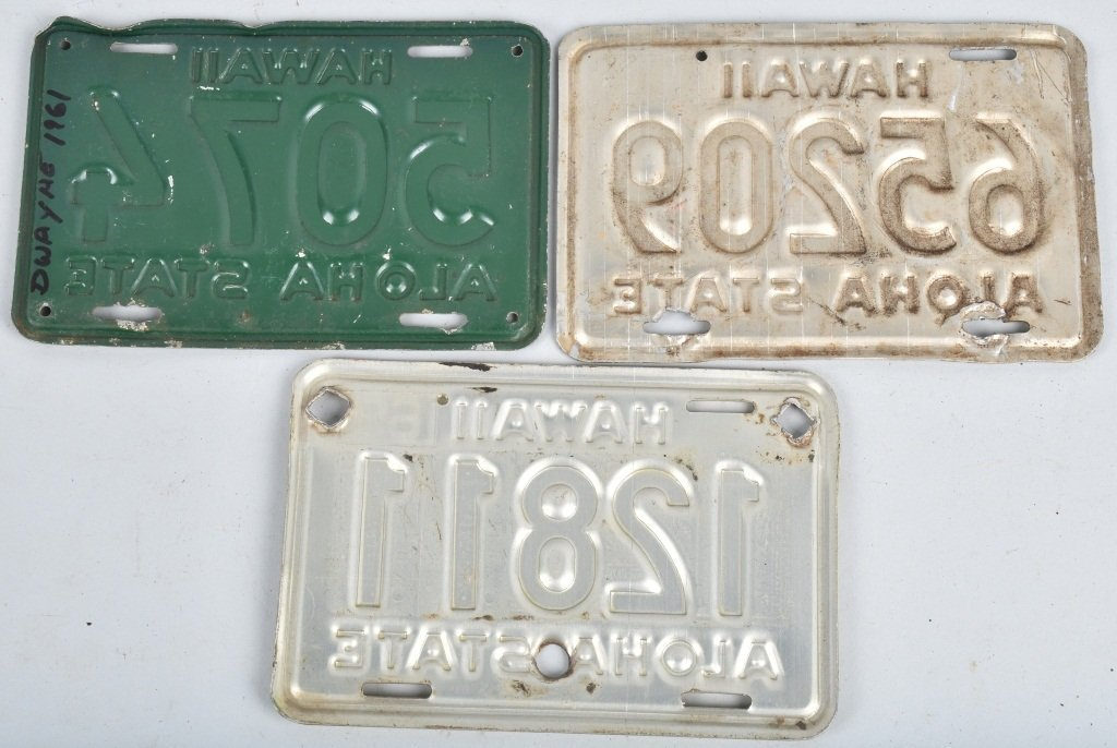 LOT OF 3 HAWAII MOTORCYLE LICENSE PLATES - 2