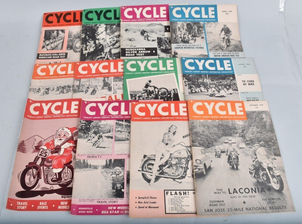 1958 CYCLE MAGAZINE, COMPLETE YEAR OF 12