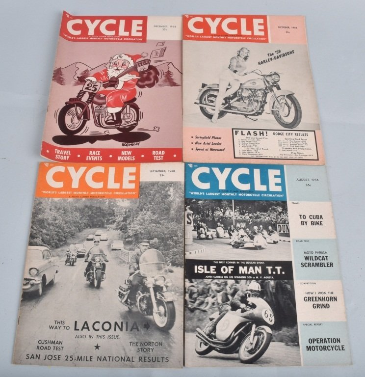 1958 CYCLE MAGAZINE, COMPLETE YEAR OF 12 - 2