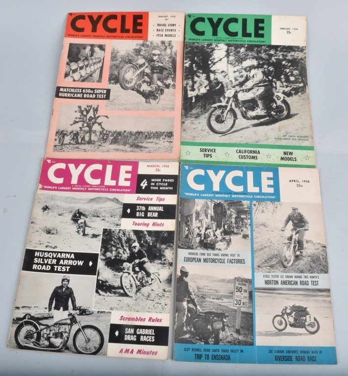 1958 CYCLE MAGAZINE, COMPLETE YEAR OF 12 - 4