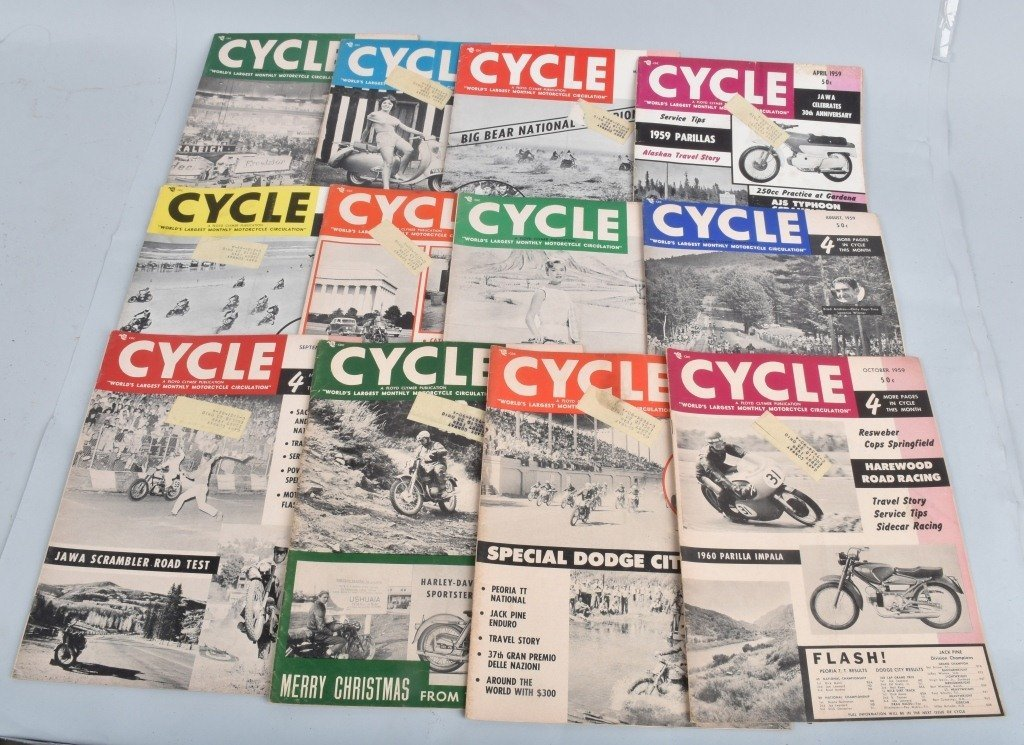 1959 CYCLE MAGAZINE, COMPLETE YEAR OF 12