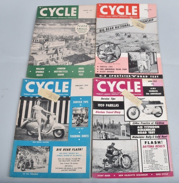 1959 CYCLE MAGAZINE, COMPLETE YEAR OF 12 - 2