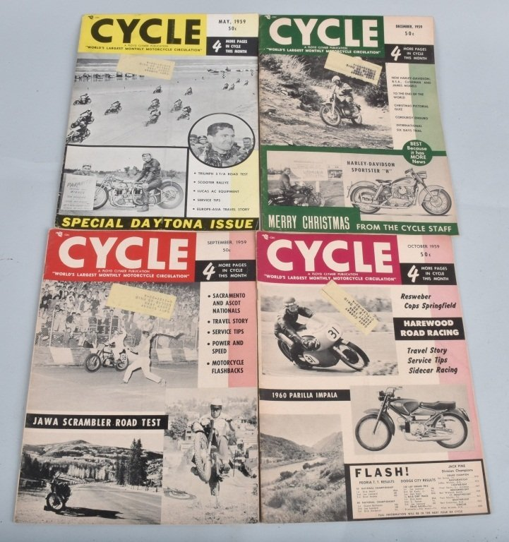 1959 CYCLE MAGAZINE, COMPLETE YEAR OF 12 - 3